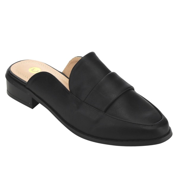 Chase & Chloe Women's EC50 Black Faux Leather Strap Details Low-heel Slip-on Mules