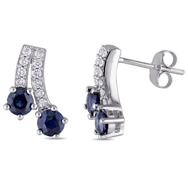 Miadora 10k White Gold Sapphire and 1/5ct TDW Diamond Shooting Stars Stud Earrings (G-H, I2-I3)