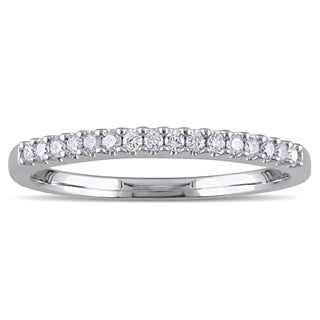 Miadora Sterling Silver 1/6ct TDW Diamond Semi Eternity Wedding Band (G-H, I2-I3)