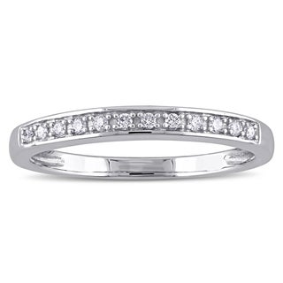 Miadora 14k White Gold 1/10ct TDW Diamond Semi Eternity Wedding Band (G-H, I2-I3)