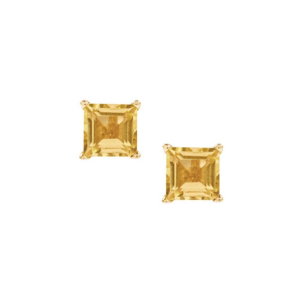 14k Yellow Gold Citrine Square Stud Earring