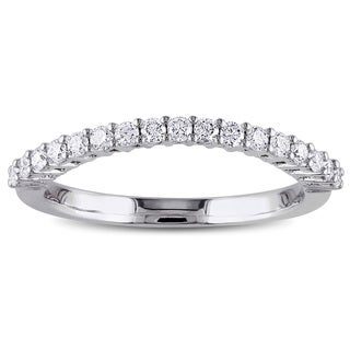 Miadora 14k White Gold 1/3ct TDW Diamond Contour Wedding Band (G-H, SI1-SI2)