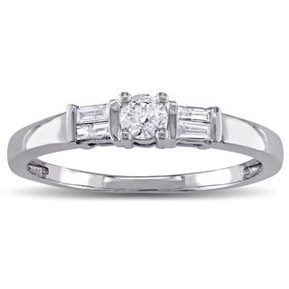 Miadora 10k White Gold 1/4ct TDW Round and Parallel Baguette Diamond 3-Stone Engagement Ring (G-H, I2-I3)