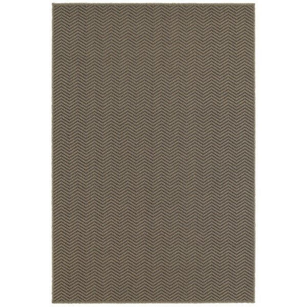 Chevron Textured Loop Pile Grey/ Charcoal Indoor/Outdoor Rug (9'10 x 12'10)