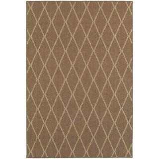 Diamond Lattice Loop Pile Brown/ Sand Indoor/Outdoor Rug (9'10 x 12'10)