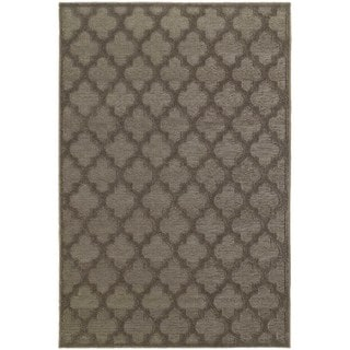 Scalloped Lattice Luxury Brown/ Grey Rug (9'10 x 12'10)