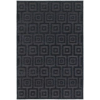 Blockwork Solid Navy/ Blue Rug (9'10 x 12'10)