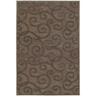 Lush Scrolls Brown/ Grey Rug (7'10 x 10'10)