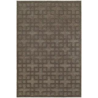 Dimensions Gridwork Brown/ Grey Rug (9'10 x 12'10)