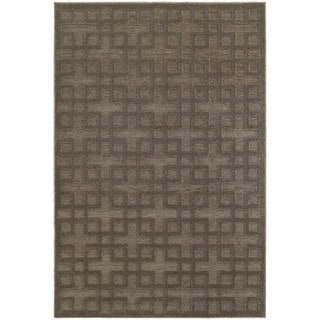 Dimensions Gridwork Brown/ Grey Rug (7'10 x 10'10)