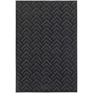 Updated Chevron Textured Navy/ Blue Rug (9'10 x 12'10)