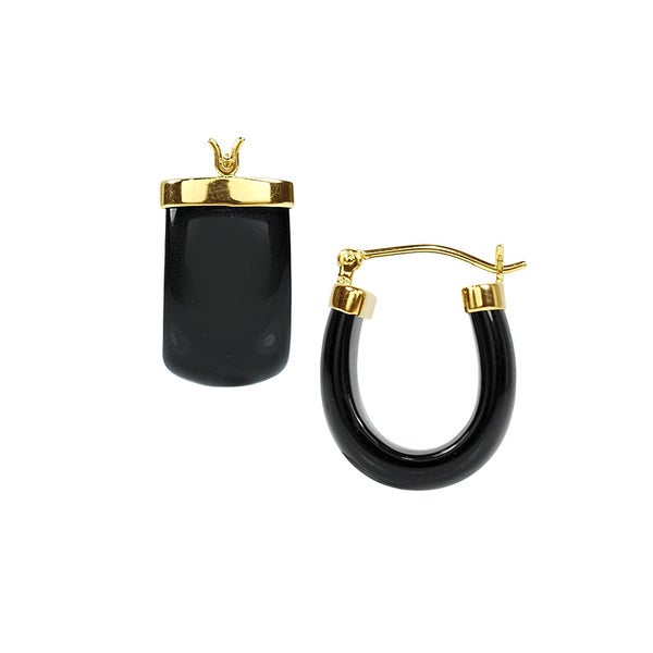14kt Black Onyx Hoop Earrings
