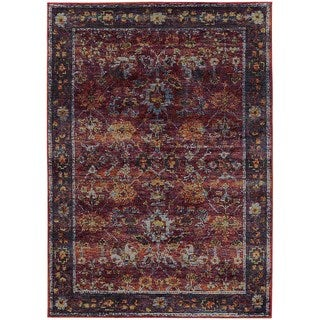 Classically Inspired Persian Red/ Purple Rug (7'10 x 10'10)