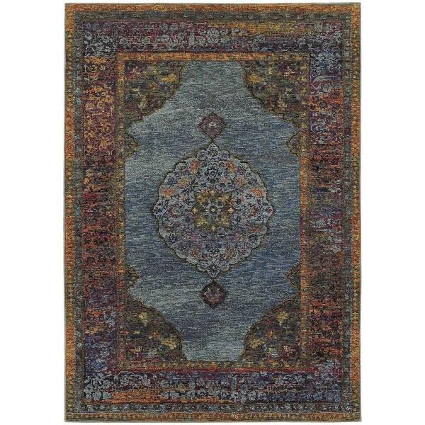 Regal Inspirations Medallion Blue/ Multi Rug (8' 6 x 11' 7) -  Oriental Weavers
