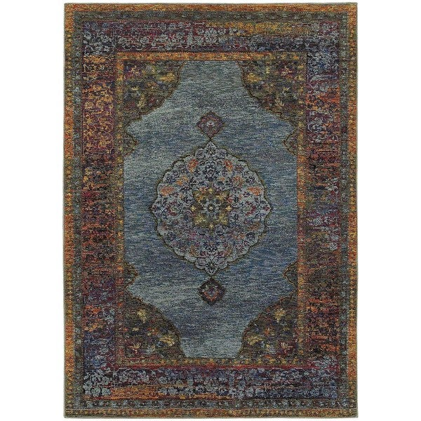 Regal Inspirations Medallion Blue/ Multi Rug (7'10 x 10'10) -  Oriental Weavers