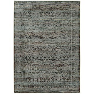 Antiqued Traditional Blue/ Purple Rug (7'10 x 10'10)