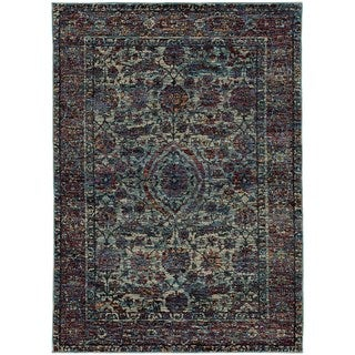 Bordered Floral Traditional Blue/ Purple Rug (7'10 x 10'10)