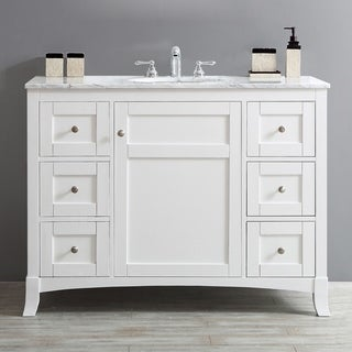 Arezzo 48-inch Mirrorless White-finished Carrara Marbletop Single Vanity