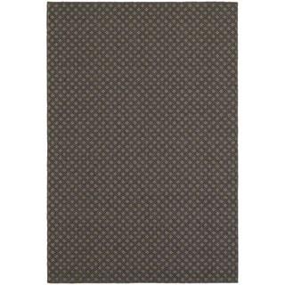 Reverse Diamond Textured Loop Pile Grey/ Charcoal Indoor/Outdoor Rug (5' 3 x 7' 6)
