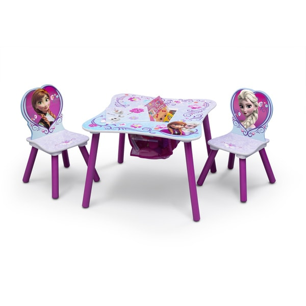 Disney Frozen Multicolored Wood/Metal/Polyester Blend Table and Chair Set with Storage