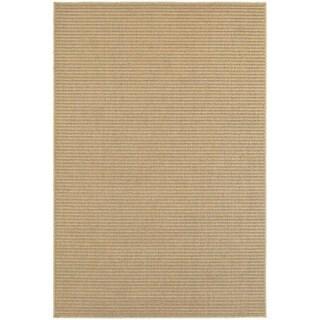 Solid Textured Stripe Loop Pile Sand/ Tan Indoor/Outdoor Rug (6' 7 x 9' 6)