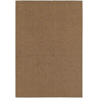 Solid Loop Pile Brown/ Tan Indoor/Outdoor Rug (6' 7 x 9' 6)
