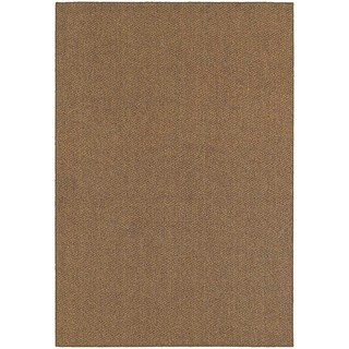 Solid Loop Pile Brown/ Tan Indoor/Outdoor Rug (5' 3 x 7' 6)