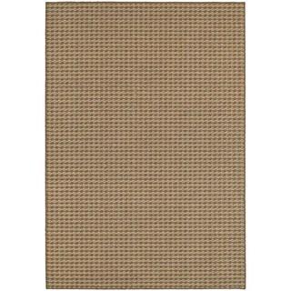 Woven Stripe Loop Pile Brown/ Sand Indoor/Outdoor Rug (6' 7 x 9' 6)