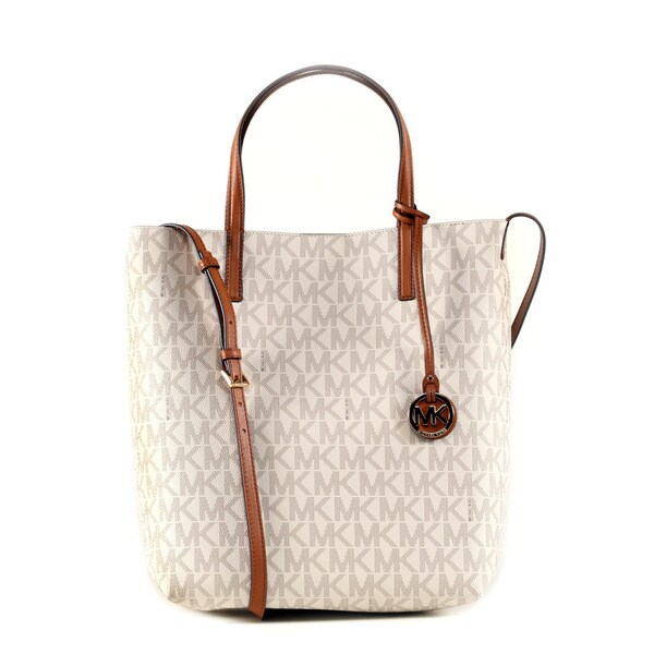 Michael Kors Vanilla/Acorn Hayley Large Convertable Tote Bag