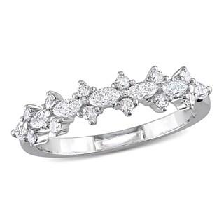 Miadora 14k White Gold 1/2ct TDW Marquise-cut Diamond Anniversary Ring (H-I, I1-I2)