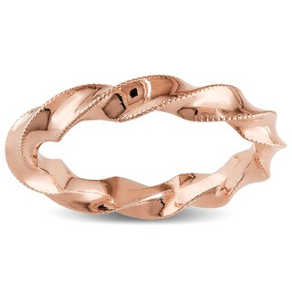 Miadora 18k Rose Gold Twisted Milgrain Wedding Band