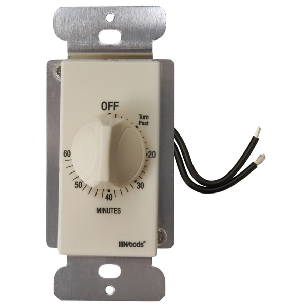 Woods 59718 Almond 60 Minute In Wall Spring Wound Countdown Timer