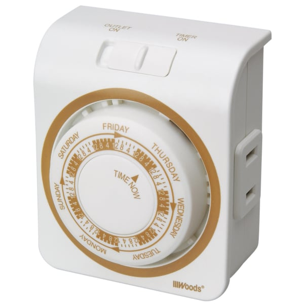 Woods 50003 White 7 Day Indoor Security Mechanical Timer
