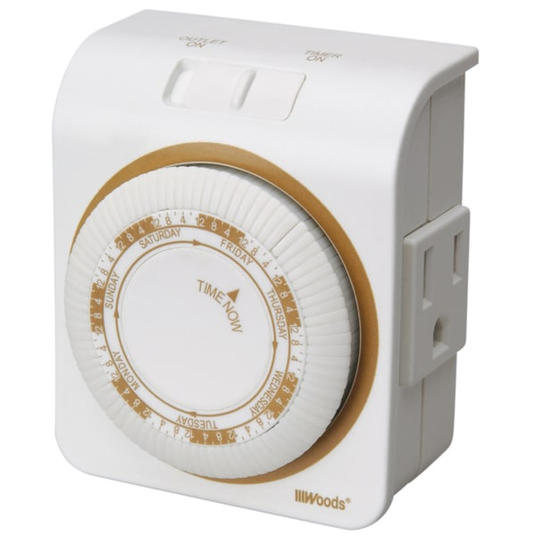 Woods 50002 White 7 Day Indoor Mechanical Timer