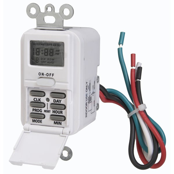 "Amertac TMDW10 4.06"" X 1.75"" X 1.63"" Indoor Wire-In Weekly Digital Timer"