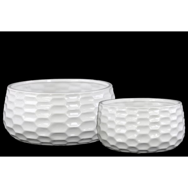 White Gloss Finish Ceramic Round Bowl-shaped Pot with Honey Comb Design (Set of Two)