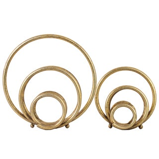 Urban Trends Collection Round Metal Gold Abstract Sculptures (Set of 2)