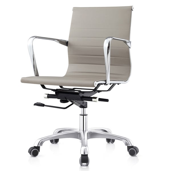 MC505 Ribbed Mid-back Executive Office Chair In Grey Leatherette (Color Options)