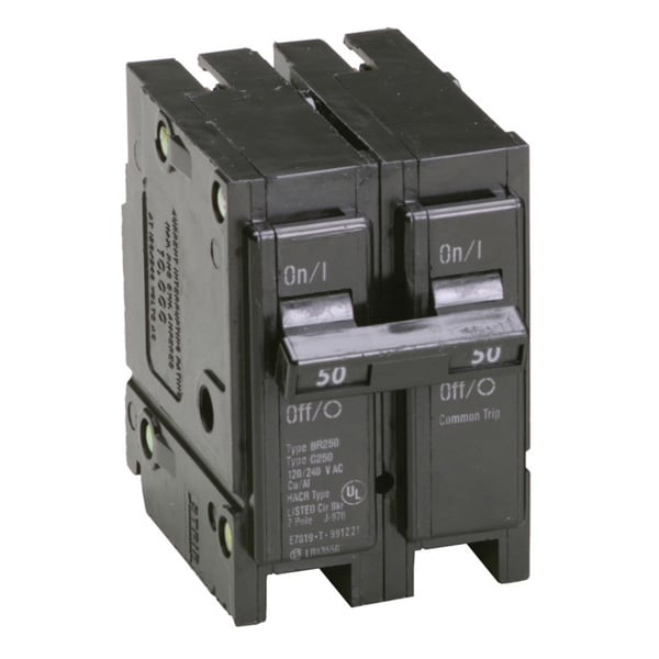 "Eaton BR250 2"" 50 Amp Double Pole Interchangeable Circuit Breaker"
