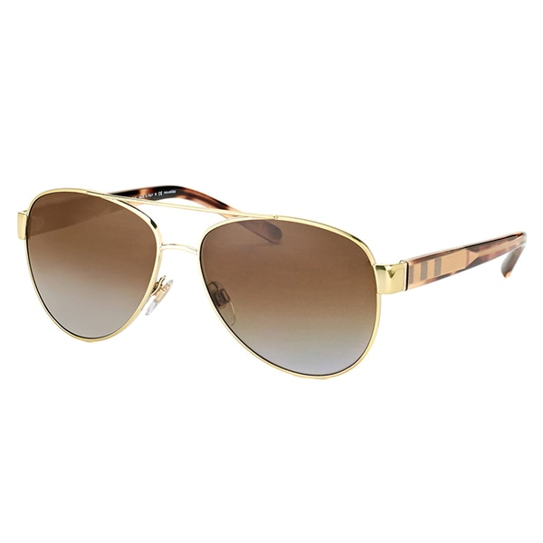 Burberry BE 3084 1145T5 Pale Gold Metal Aviator Grey Gradient Polarized Lens Sunglasses