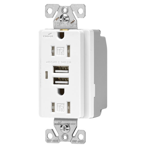 Cooper Wiring Devices TR7745W 15 Amp White USB Receptacle