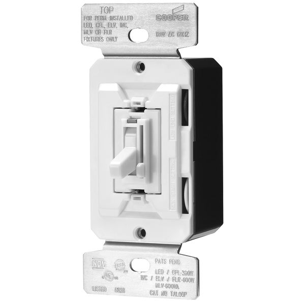 Cooper Wiring Devices TAL06P-C2-K 8 Amp White Dimmer Switch