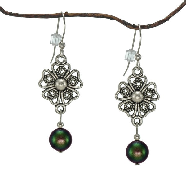 Jewelry by Dawn Iridescent Green Crystal Pearl Pewter Flower Earrings