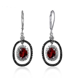 Jewelonfire Sterling Silver 3 1/5ct TGW Garnet and Diamond Accent Earrings
