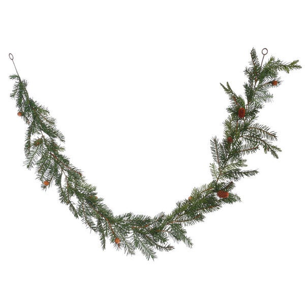 Douglas Green Plastic Fir Garland with Cones and 99 Tips