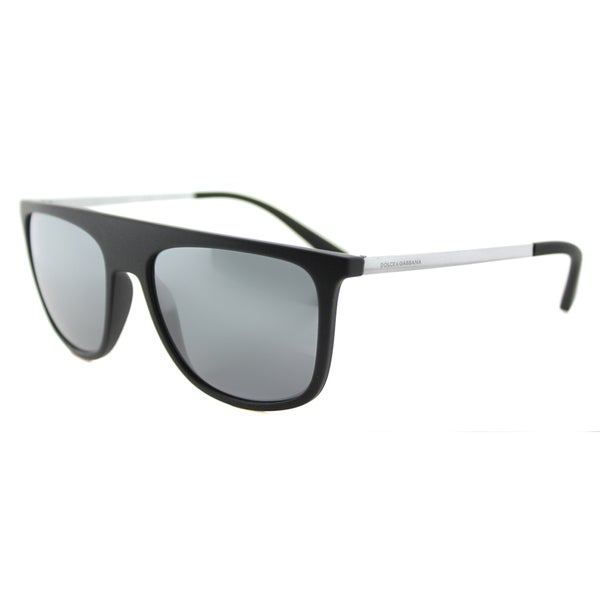 Dolce and Gabbana DG 6107 28056G Black Rubber Plastic Square Black Mirror Lens Sunglasses