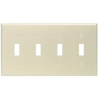 Leviton 001-86012 Four Gang Ivory Four Toggle Wallplate