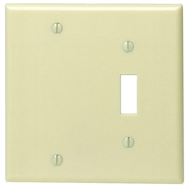 Leviton 001-86006-0 Single Gang Ivory Toggle & Blank Wallplate