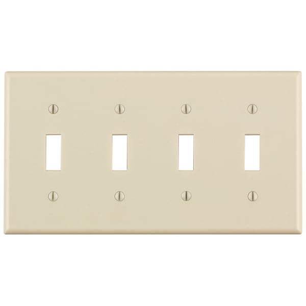 Leviton 000-78012-000 Light Almond 4 Gang Toggle Switch Wall Plate