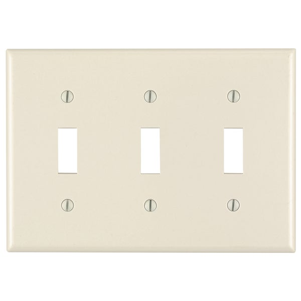 Leviton 000-78011-000 Light Almond 3 Gang Toggle Switch Wall Plate